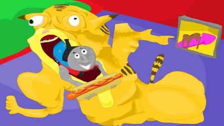 Garfield vs Thomas the tank engine by Sikojensika