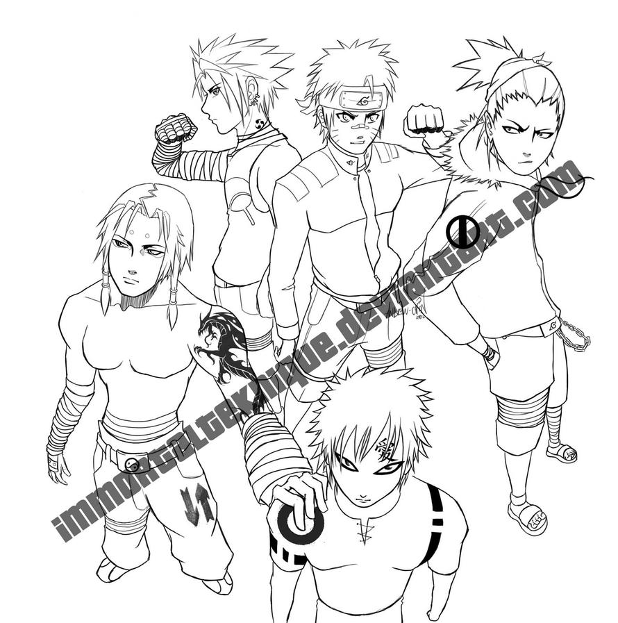 Line Art Group : Naruto group lineart by immortalteknique on deviantart