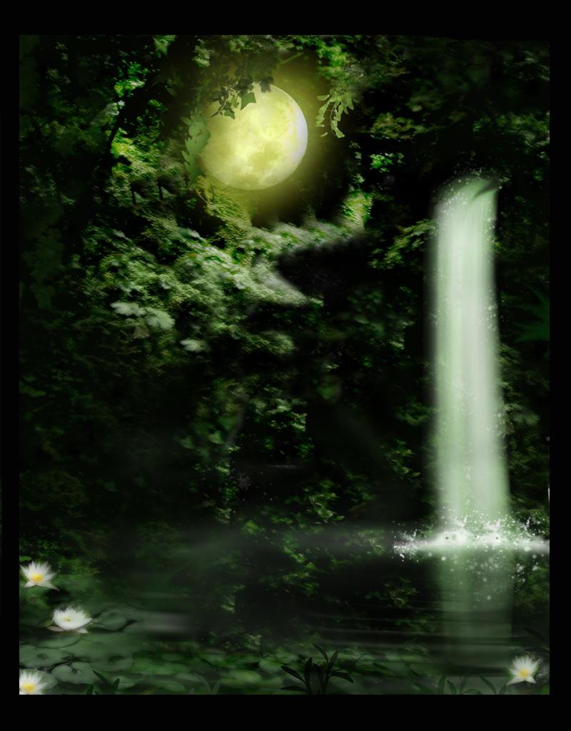 Background Waterfall by Black-WidoW-Stock