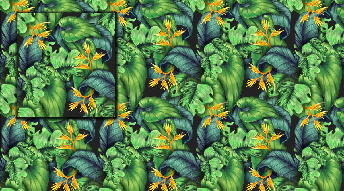 Heliconia and tropical leaf pattern by Bimtav