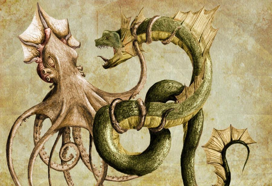 Kraken and Sea Serpent color by Finward-Erendash