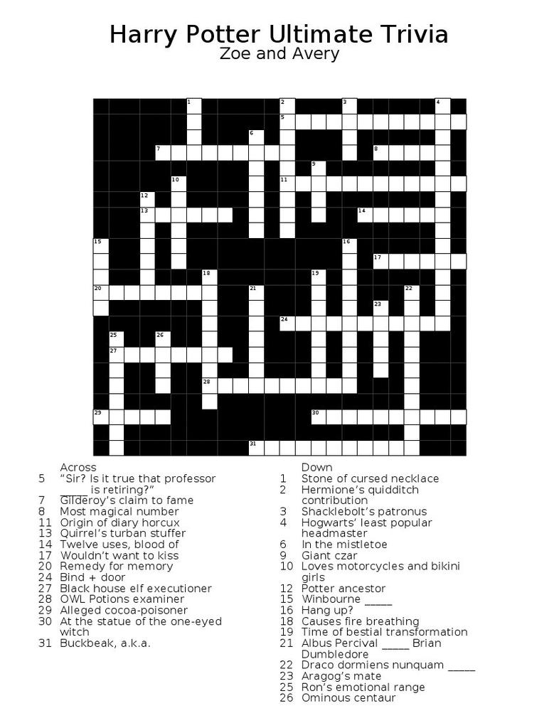 Harry Potter Ultimate Crossword by WhisperingWindxx