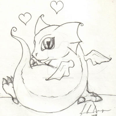 cute baby dragon doodle by kattenyajen on deviantart