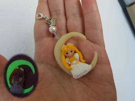 Princess Serenity on the Moon polymer clay charm by Fegarostalida