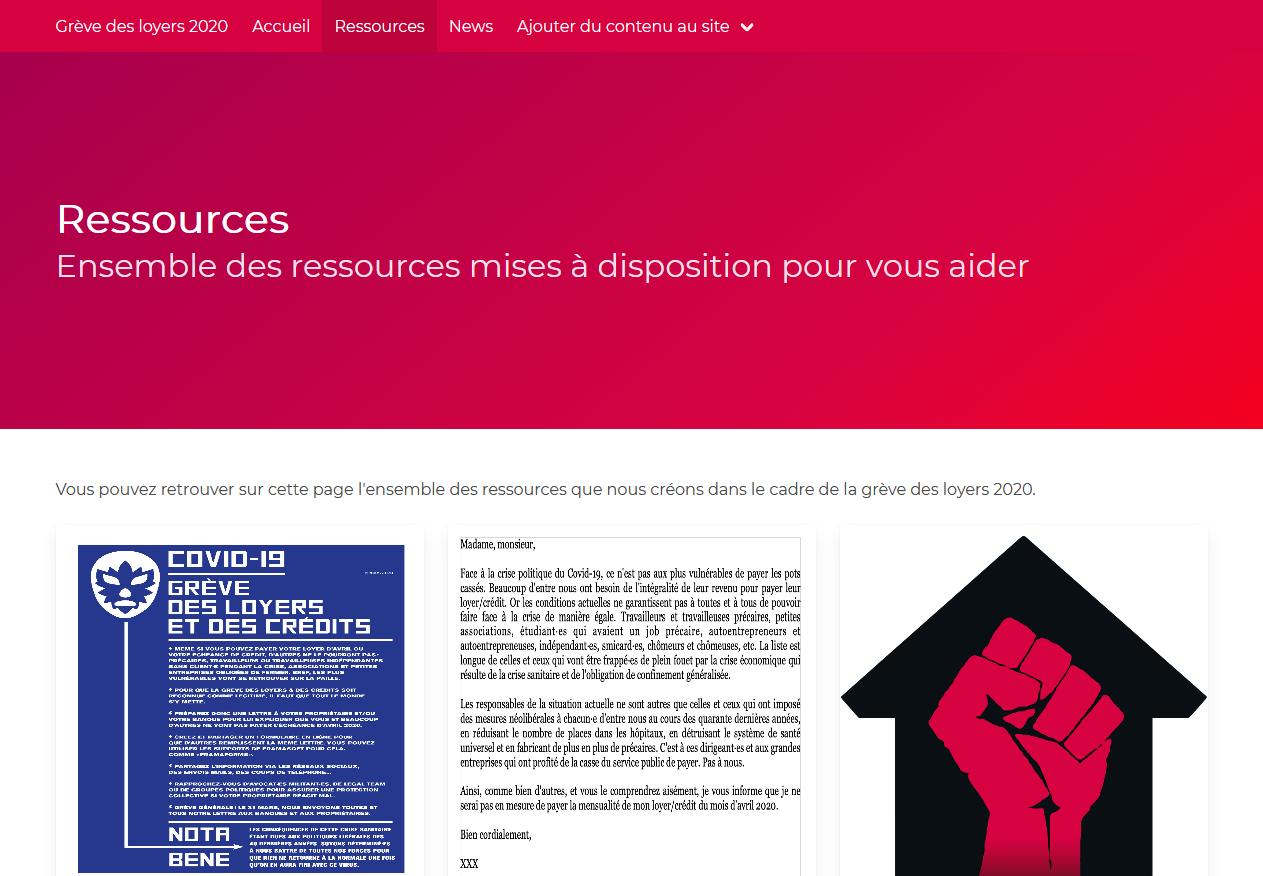 Lancement du site web de la grève des loyers 2020