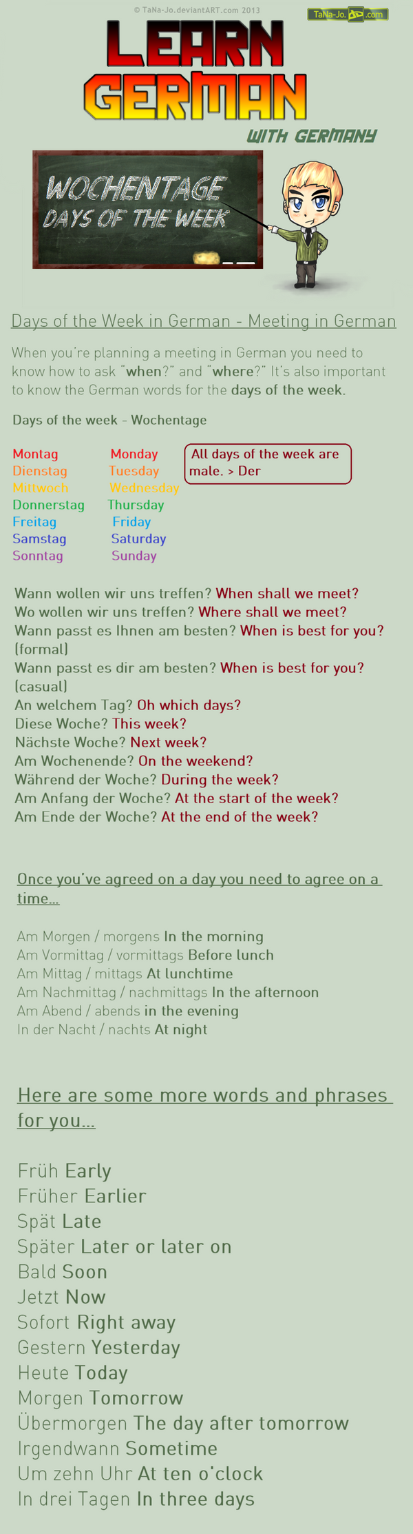 Learn German - Days of the week / Meeting by TaNa-Jo