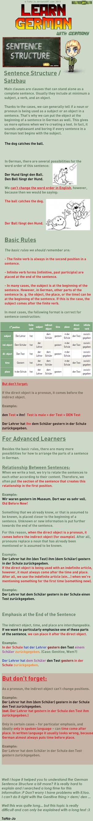 Learn German - Sentence Structure/ Satzbau by TaNa-Jo