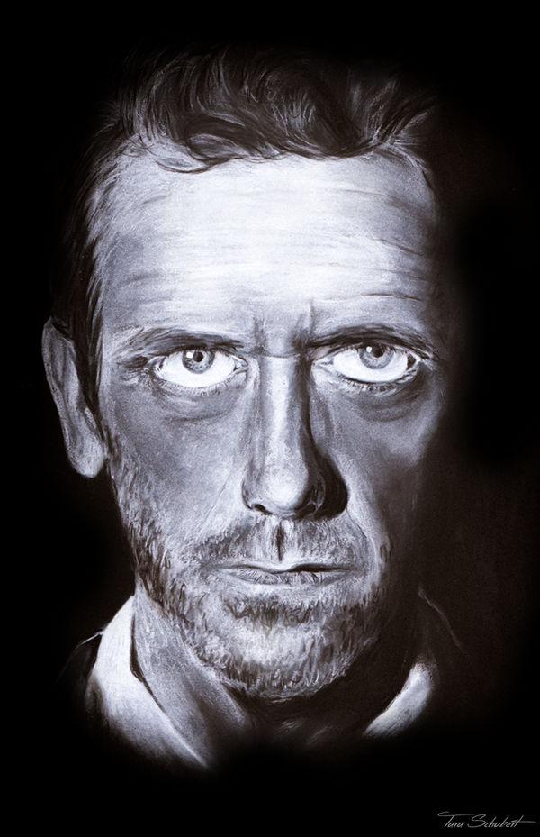 Hugh Laurie chalk portrait