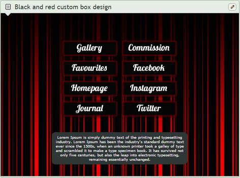 Red and black striped custom box design