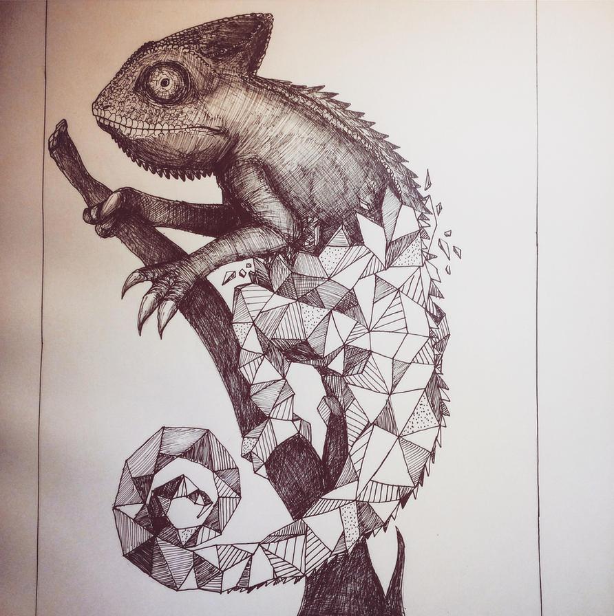 Chameleon Tattoo Designs Drawings: Geometric Chameleon By TaNa-Jo On DeviantArt