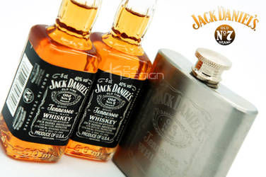 Jack Daniels Miniature bottles and matching Flask