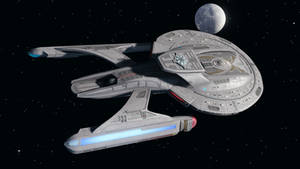 USS Oberon leaving Earth