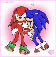 Knuckles x Sonic - Smooch by SpaceFoxy