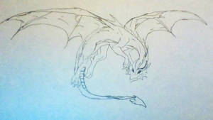 Drawing of flying dragon