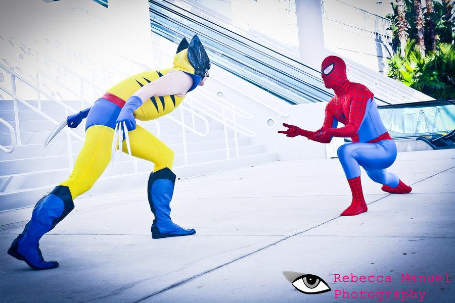 Classic YellowWolverine Vs Spiderman by joker99xdraven