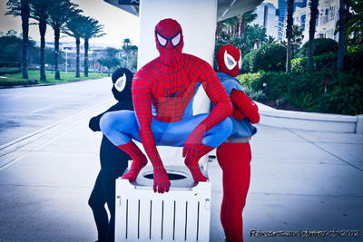 Scarlet Spider, Spider-Man And Female Venom by joker99xdraven