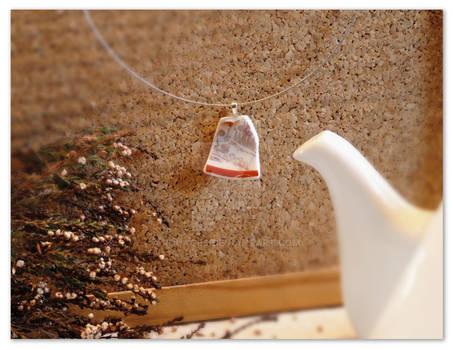 White and Red elegant broken china pendant