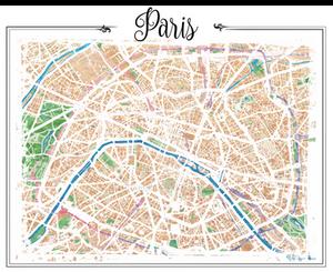 Watercolor map of Paris