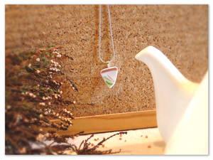 Unique triangle-shaped broken china pendant