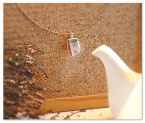 Red, white and green sleek ceramic pendant