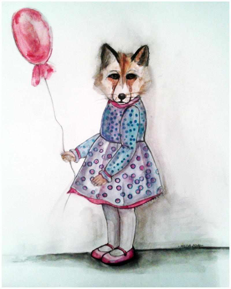 Fox and balloon by Lluvia