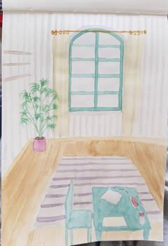 empty pastel room