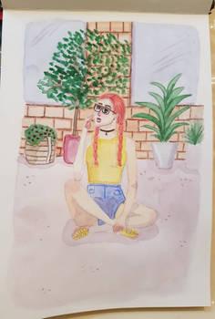 pastel plants  girl