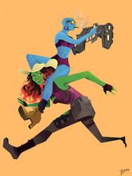 Nebula and Gamora by mieser