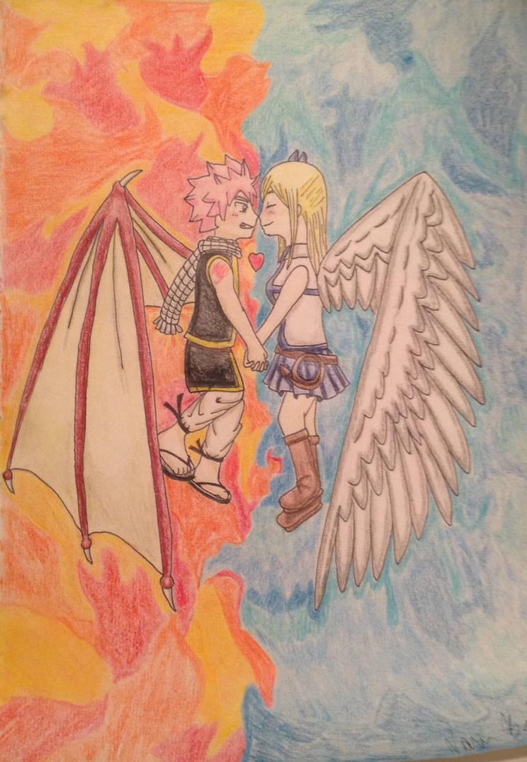 Nalu the demon dragon and angel princess by otaness