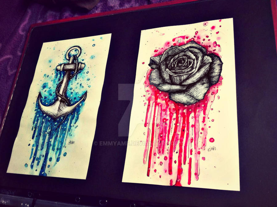 Rose And Anchor Tattoo Flash