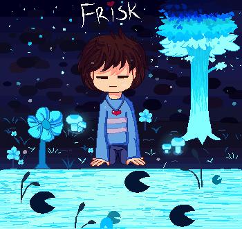 Frisk in Waterfall Pixel by SandiMiup