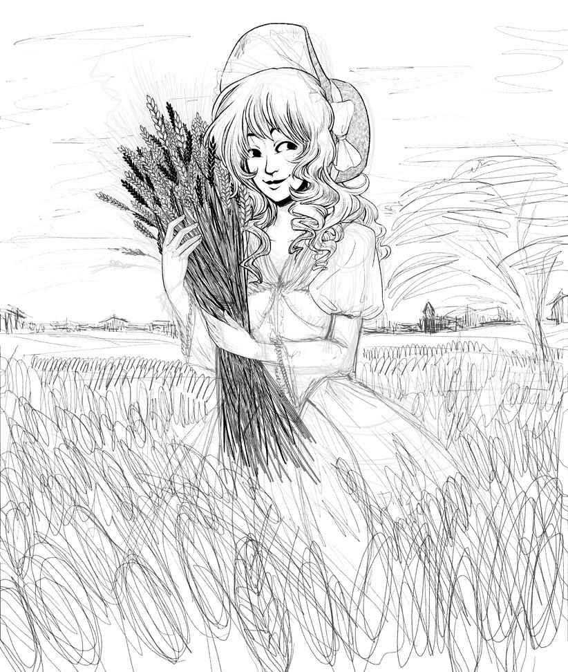 D Line Drawings Quest : Wheat fields wip by izuma on deviantart