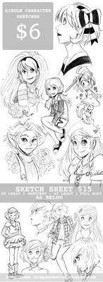 Character Sketches + Sketch Sheet Commission Info by keh-arts