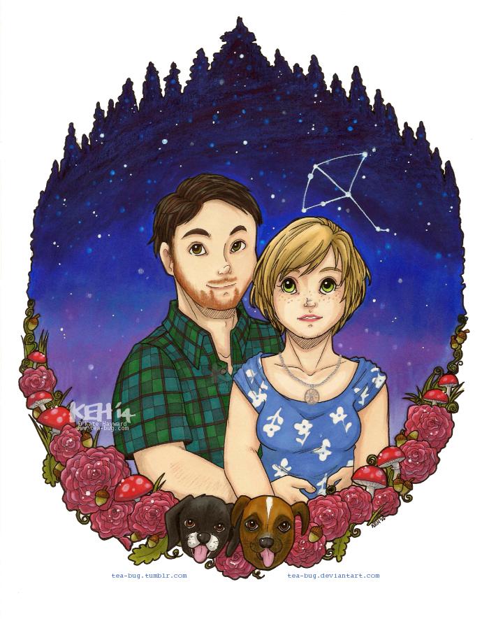 Starry couple portrait commission by tea-bug