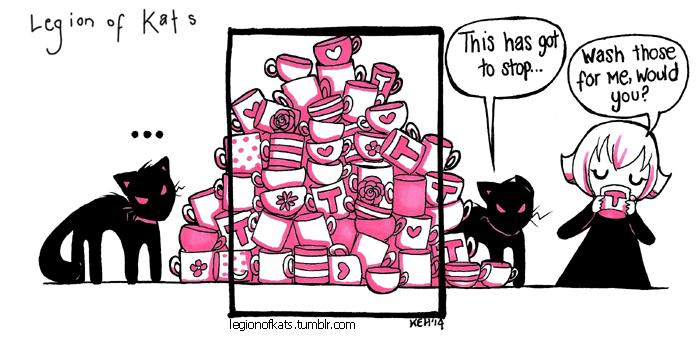 Legion of Kats - Tea Cups by tea-bug