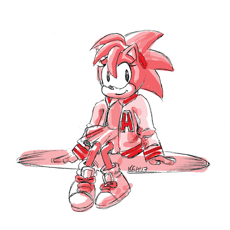 Sketch Request Classic Amy Rose In Varsity Jacket By Keh