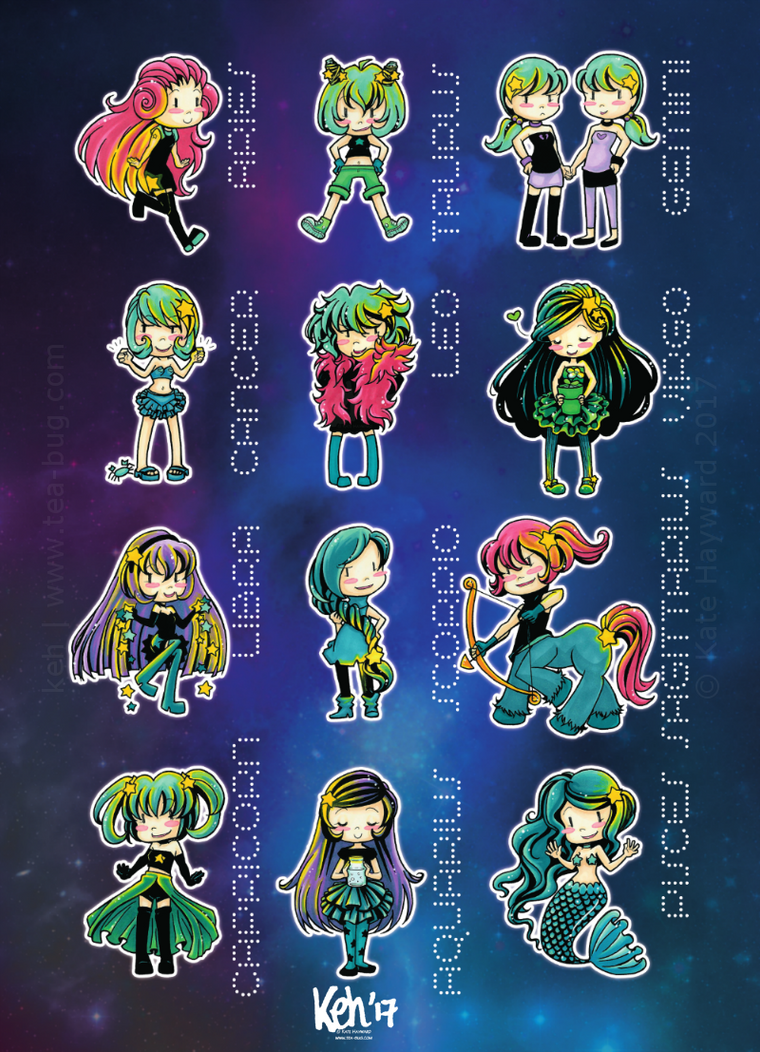 Starsign Chibis Poster by tea-bug