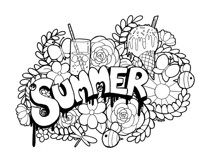 Summer Doodle - colouring line art (downloadable) by keh-arts on