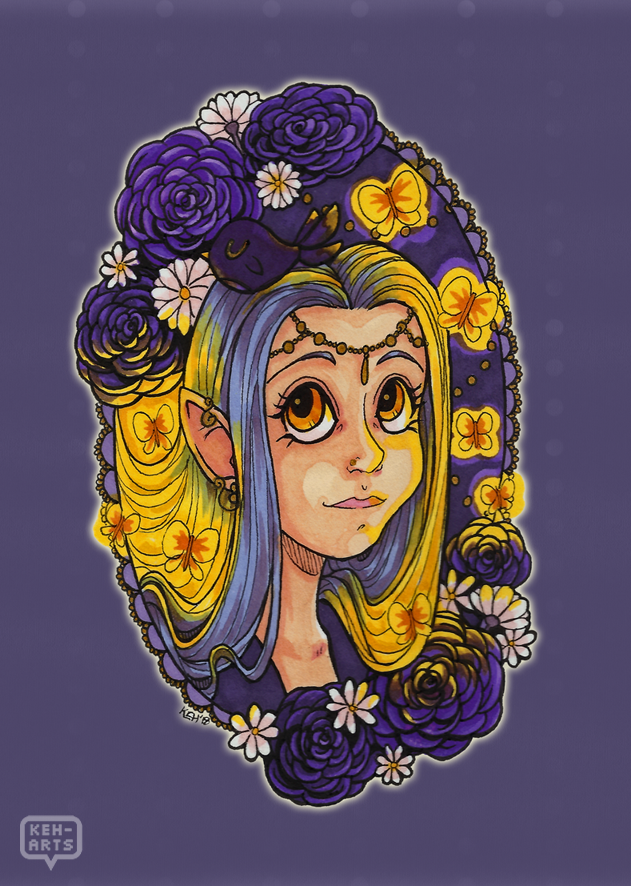 Purple and Gold Fantasy Princess by keh-arts