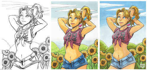 Minnie and Sunflowers | Commission Examples by keh-arts