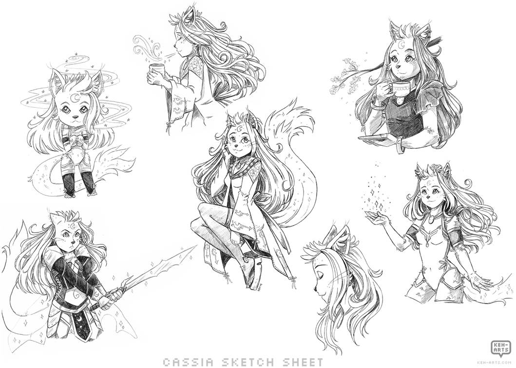 Sketch Sheet Commission: Cassia by keh-arts