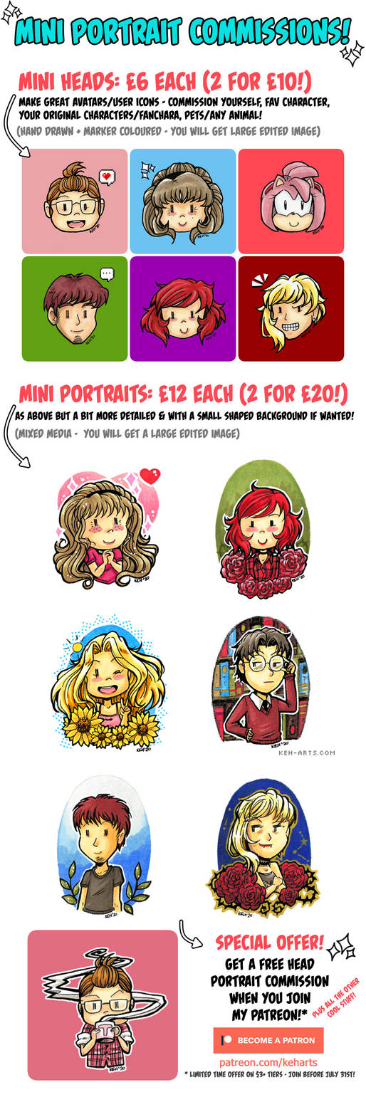 Mini Portrait Commissions + Patreon Special Offer