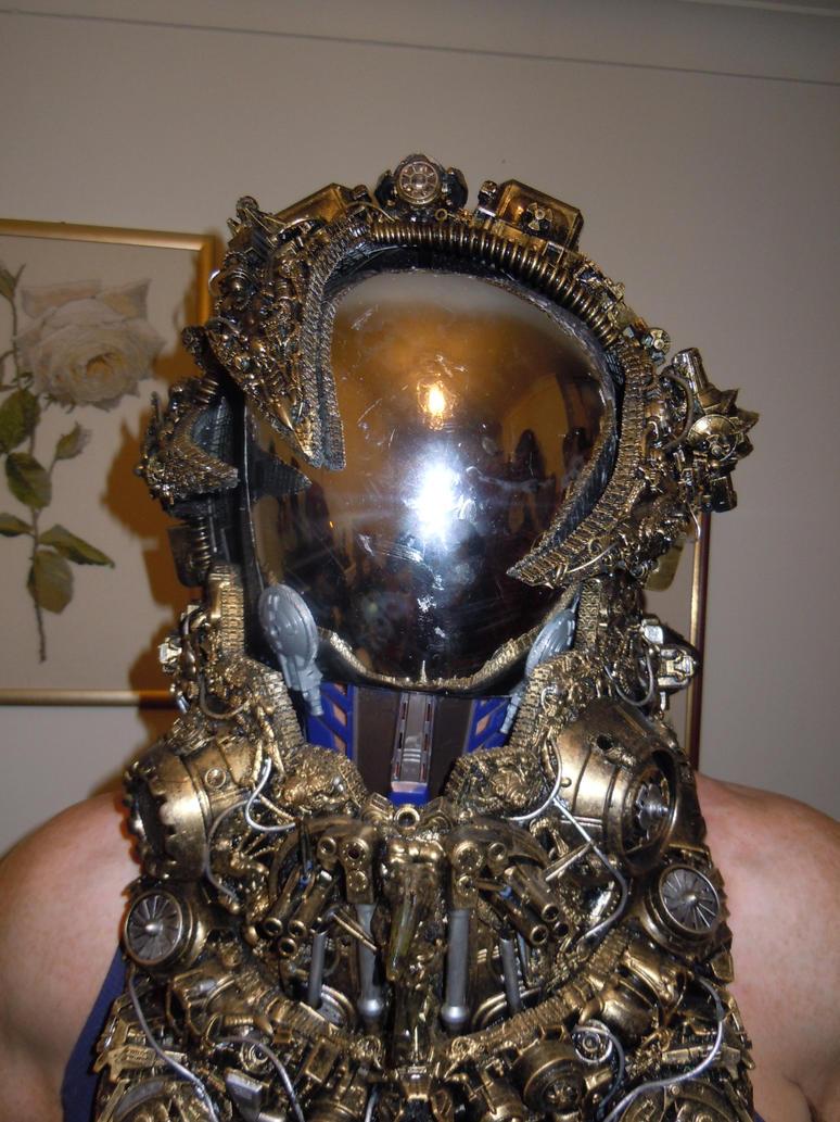 alien astronaut steampunk cyberpunk borg helmet by cosplayoverlord