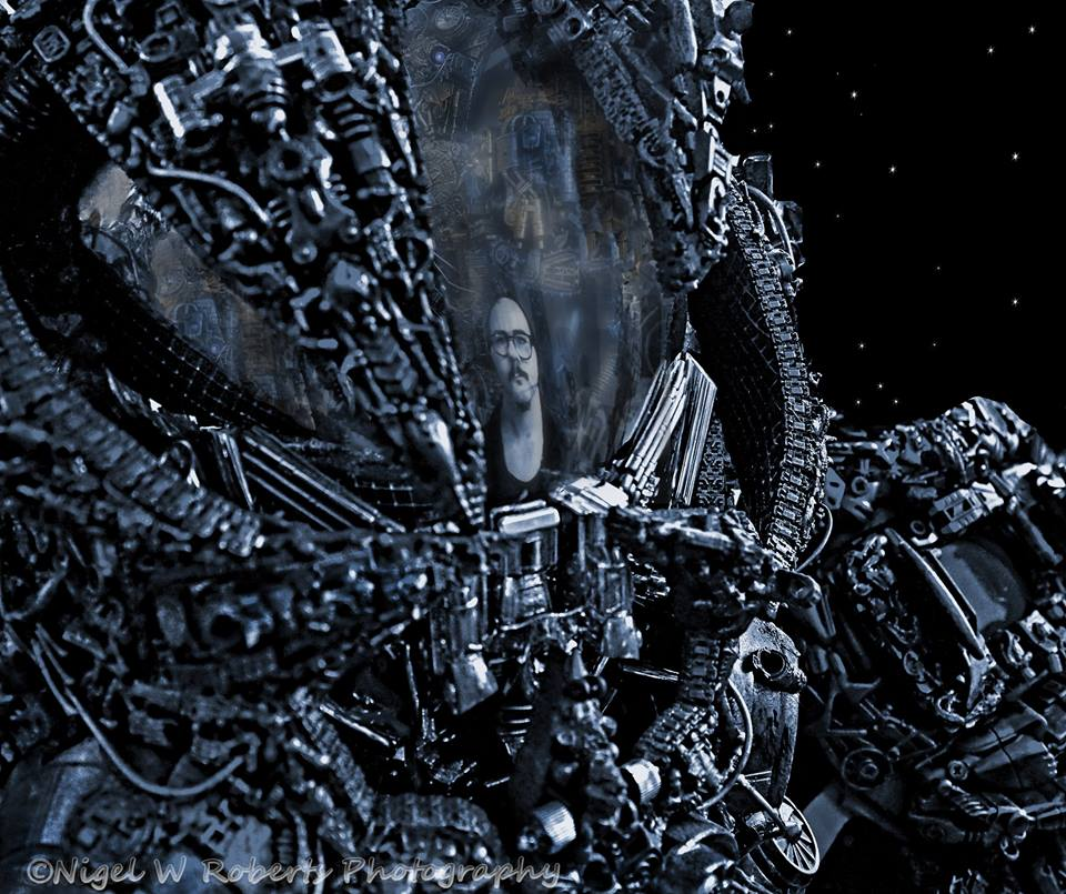alien astronaut steampunk/cyberpunk/borg helmet by overlord-costume-art