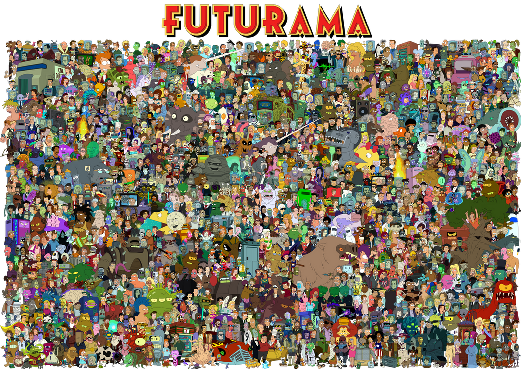 The cast of Futurama by Unrellius