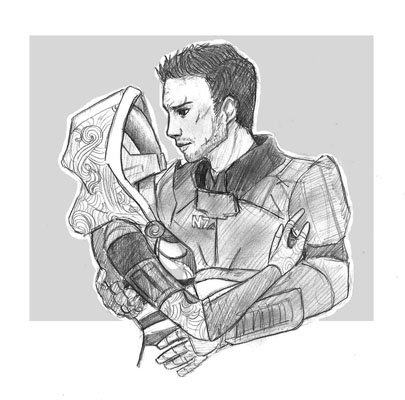 Shepard and Tali Sketch by QuizzicallyQuixotic