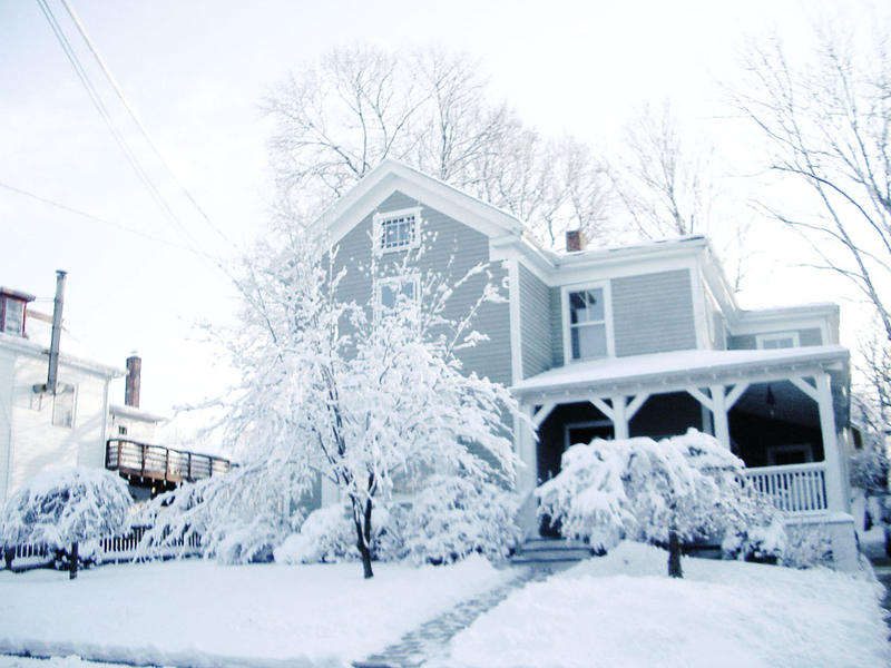 snow covered house - photo #18