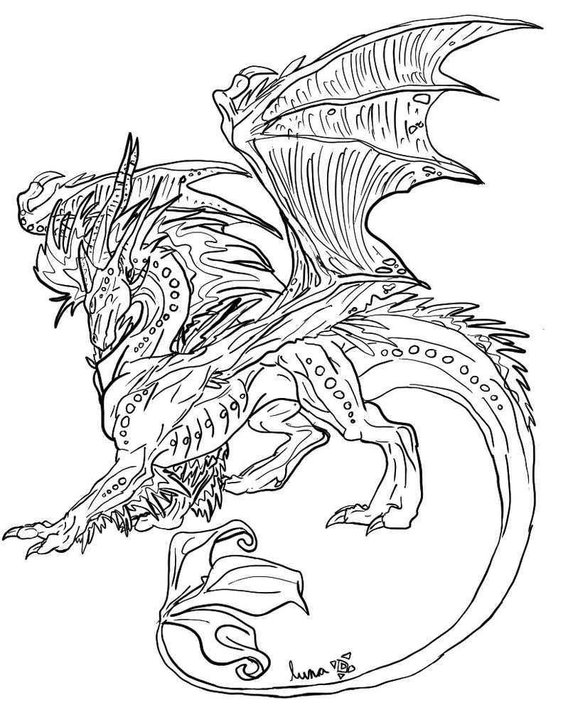 Line Drawing Dragon : Dragon line art by luna the moon on deviantart