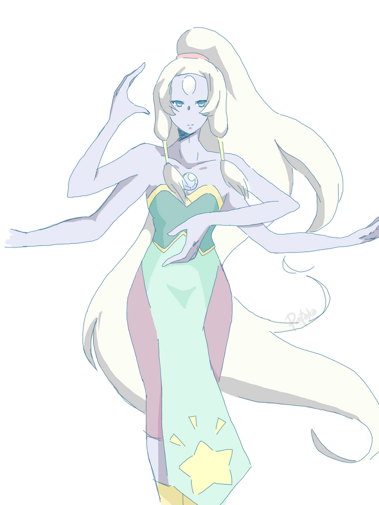 still flat colors, trying to experiment with shadows and blending ouo this is opal from steven universe! a little spoiler to those who havent watched the show, she's the fusion of amethyst and pear...