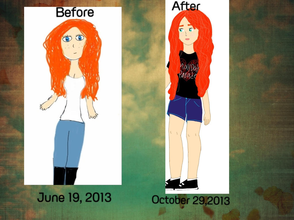 Re drawing before and after by florairmatylee